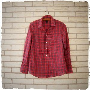 J Crew Holiday Plaid Button Down Pintuck Pleats S
